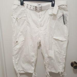 Pants - White Belted Bermuda Shorts